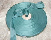 Vintage French 1930's-40's Woven Ribbon -Milliners Stock- 5/8 inch Deep Peacock Green Blue