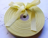 Vintage 1930's-40's French Woven Ribbon -Milliners Stock- 5/8 Inch Gorgeous True Lemon Yellow
