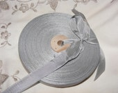 Vintage French 1930's-40's Woven Ribbon -Milliners Stock- 5/8 inch Pewter Gray