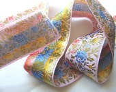 Vintage 1940's French Jacquard Silk and Rayon Embroidered Ribbon 1 3/8 Inch All Over Flowers