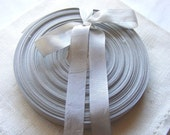Vintage 1930's-40's French Woven Ribbon -Milliners Stock- 5/8 inch Silver Grey