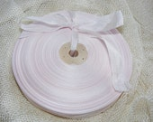 Vintage 1930's-40's French Woven Ribbon -Milliners Stock- 5/8 Inch Gorgeous Ice Pink