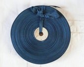 Vintage French 1930's-40's Woven Ribbon -Milliners Stock- 5/8 inch Teal Blue