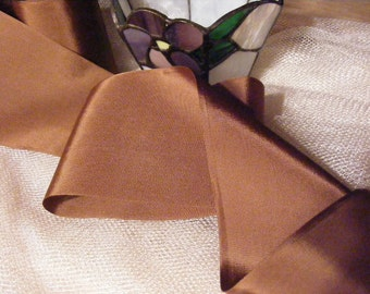 Vintage 1930's-40's French Rayon Satin Ribbon 2 15/16 Inch Gorgeous Sable Brown