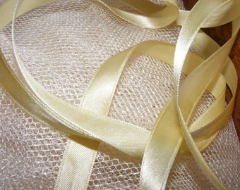 Vintage 1940's French Satin Ribbon 1/2 Inch Gorgeous Butter Yellow