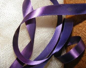 Vintage 1940's French Satin Ribbon 5/8 Inch Gorgeous Blue Violet