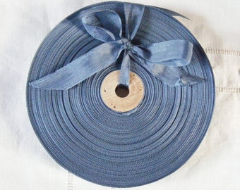 Vintage 1930's-40's French Woven Ribbon -Milliners Stock- 5/8 inch Uniform Blue