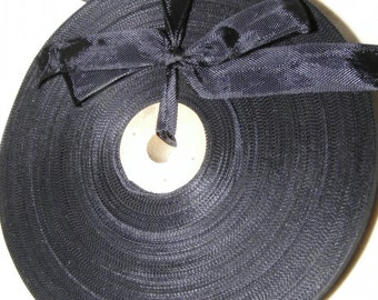Vintage 1930's-40's French Woven Ribbon -Milliners Stock- 5/8 inch Jet Black