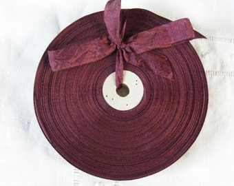 Vintage 1930's-40's French Woven Ribbon -Milliners Stock- 5/8 inch Wine