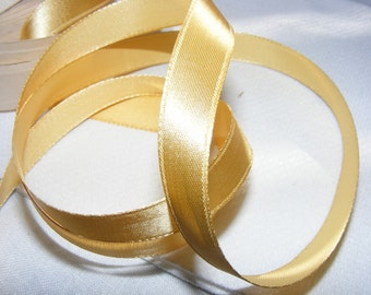 Vintage 1940's Canadian Satin Ribbon 7/16 inch -Milliners Stock- Gorgeous Soft Gold