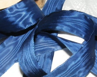 Vintage 1920's French Moire Ribbon 7/8 Inch Gorgeous Deep Royal Blue