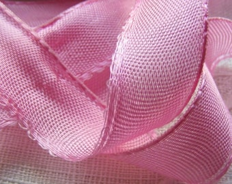 Vintage 1930's French Satin Woven Ribbon 15/16 inch Gorgeous Candy Pink