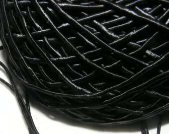 Vintage 1940's Silk Necklace Cord Cording 1/16 Inch Shimmery Jet Black