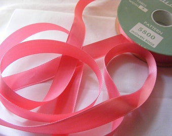 Vintage 1930's-40's French Satin Ribbon 1/2 Inch Gorgeous Salmon Pink