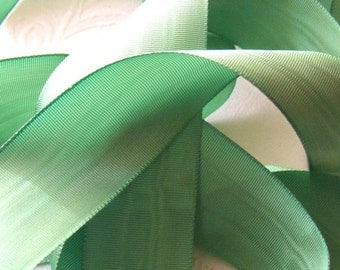 Vintage 1930's French Moire Ribbon 15/16 Inch Gorgeous Grass Green