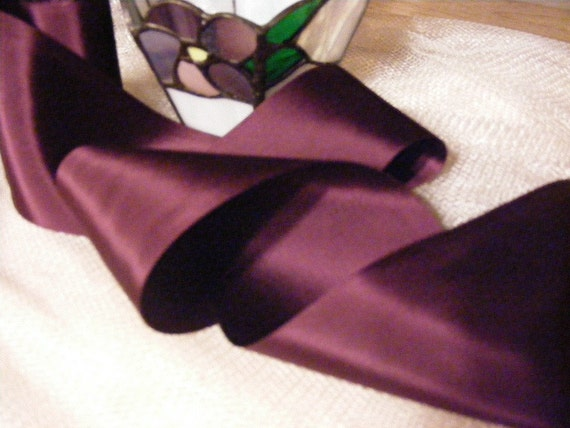 Vintage 1930's-40's French Satin Ribbon 3 Inch Gorgeous Deep Berry