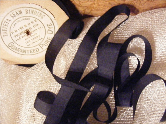 Vintage 1930's Silk and Rayon Ribbon 1/2 Inch Gorgeous Midnight Blue