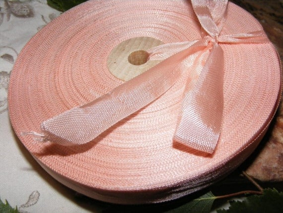 Vintage French 1930's-40's Woven Ribbon -Milliners Stock- 5/8 inch Rose Petal Pink