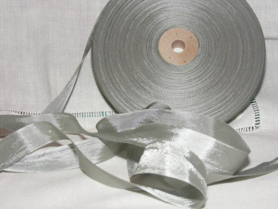 Vintage 1930's-40's French Woven Ribbon -Milliners Stock- 5/8 inch Silvery Green