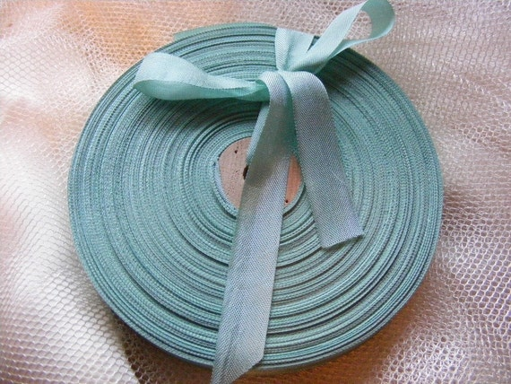 Vintage 1930's-40's French Woven Ribbon -Milliners Stock- 5/8 Inch Gorgeous Robins Egg