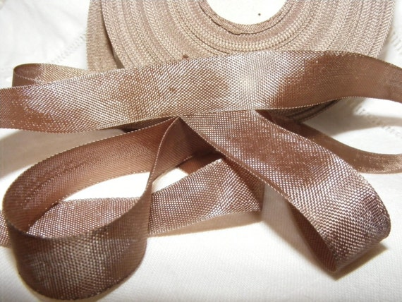 Vintage French Woven Ribbon -Milliners Stock- 5/8 inch 1930's-40's Deep Mink Brown