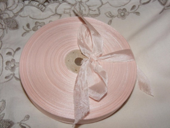 Vintage French 1930's-40's Woven Ribbon -Milliners Stock- 5/8 inch Porcelain Pink