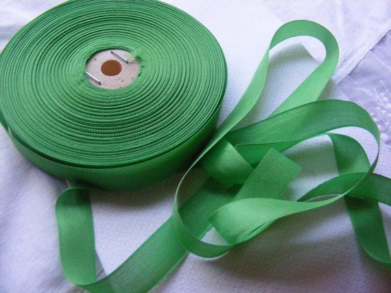 Vintage French 1930's-40's Woven Ribbon -Milliners Stock- 5/8 inch Spring Green