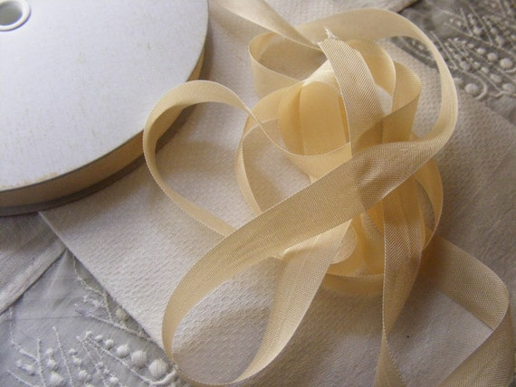 Vintage French Woven Ribbon -Milliners Stock- 9/16 inch 1940's-50's Buff Deep Cream