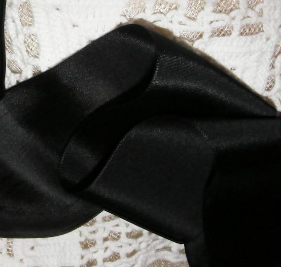 Vintage French 1930's Woven Satin Ribbon 2 inch WIDE Gorgeous Jet Black