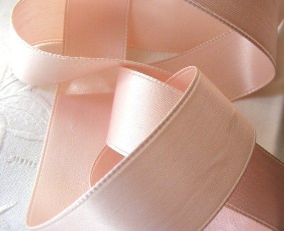 Vintage 1920's French Double Face Satin Ribbon 1 inch Gorgeous Powder Pink