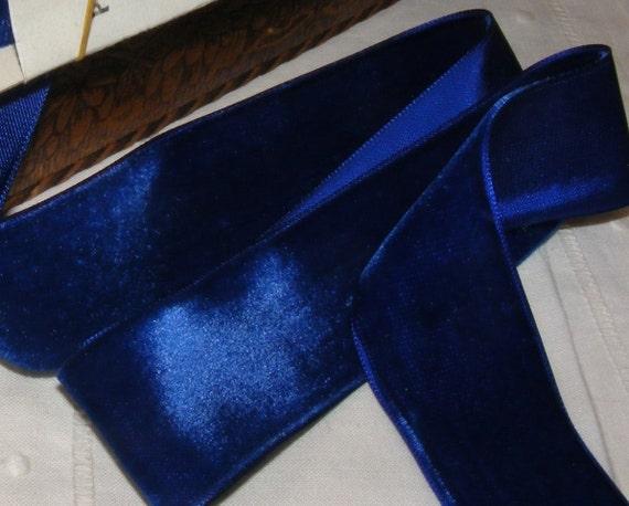 Vintage 1930's Swiss Velvet Ribbon 2 Inch Gorgeous Royal Blue