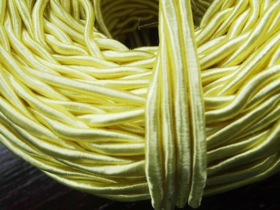 Vintage 1940's Silk Necklace Cord Cording 1/8 Inch Shimmery Lemon Yellow