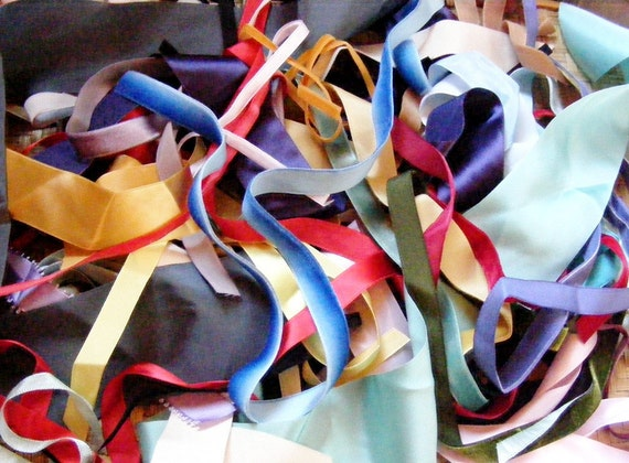 Vintage 1920's-40's Ribbon Remnants Satin Velvet Grosgrain and Silk Over 33 Yards