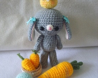 PDF Crochet Pattern Set - Maple bunny in lunch time