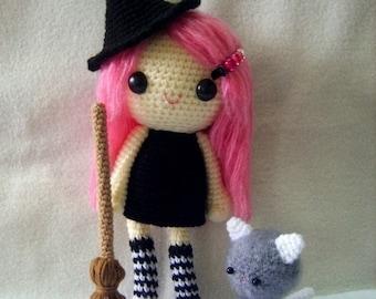 PDF Crochet Pattern - Little witch and fuzzy kitten