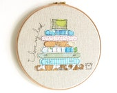 """I love my bed - Personalised Embroidery Hoop Picture - turquoise, green, brown - 10"""" hoop"""