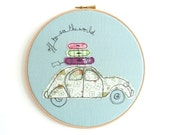 Off to see the world - Freehand Embroidery wall art in duck egg - 8 inches hoop