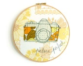 "Vintage Camera - Personalised Embroidery Hoop Art - Textile Artwork in yellow & green - 8"" hoop"