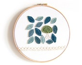 """Embroidery Hoop Art - 'Woodland floor' Textile Artwork in blue, green and lace - 8"""" hoop"""