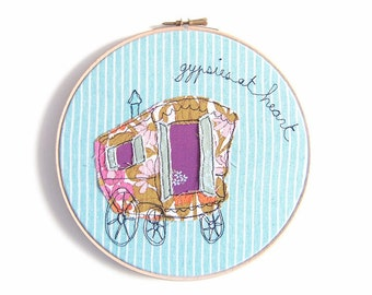 "Gypsies at Heart - Personalised Embroidery Hoop Art - Whimsical Textile Art in turquoise & purple - 8"" hoop"