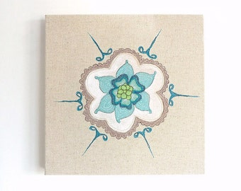 Bleuet - Original Embroidery Art Canvas - Textile Artwork - Aqua, white & olive