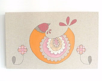 Queenie - Original Embroidery Art Canvas - Scandinavian Textile Artwork - Orange, pink, raspberry