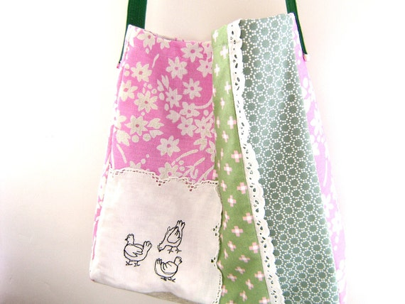 50% OFF SALE - Embroidered Messenger Bag in pink and green