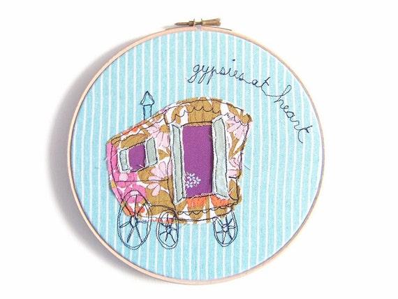 """Gypsies at Heart - Personalised Embroidery Hoop Art - Whimsical Textile Art in turquoise & purple - 8"""" hoop"""