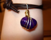 Purple stone and leather adjustable bracelet