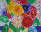 Dahlias Original Framed Watercolour Painting