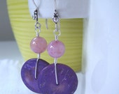 Sterling Silver Purple and Pink Stone Spring Earrings