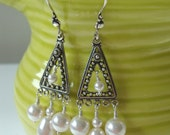 FREE SHIPPING Sterling Silver White Pearl Wedding Chandelier Earrings