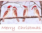 Christmas Owls, 6 greeting cards with matching envelopes by Lise Winne