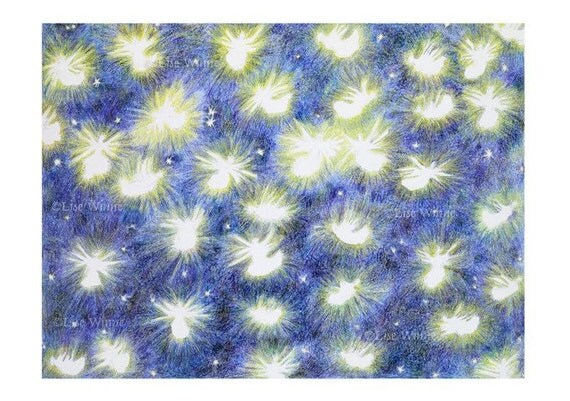 twinkling angels in outer space, stars, 3 greeting cards